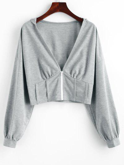 ZAFUL Plunge Front Drop Shoulder Zip Up Corset Hoodie - Dark Gray S
