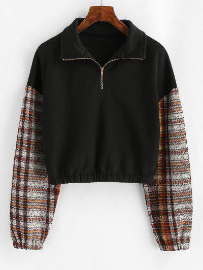 Sweat-shirt Graphique Zippé En Tricot à Doublure En Laine - Noir S