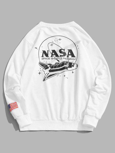 ZAFUL Space Shuttle Program Graphic Sweatshirt - White Xl