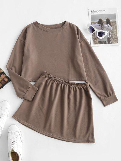 Earth Tone Plain Cropped Two Piece Sweat Set - Coffee M