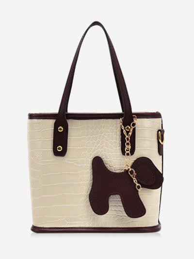 Dog Detail Animal Pattern PU Leather Tote Bag - Warm White