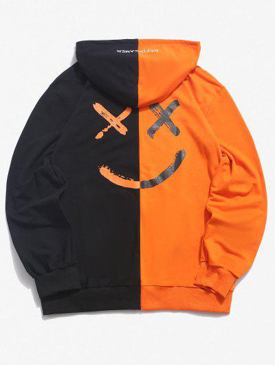 Letter Print Contrast Slogan Hoodie - Orange S