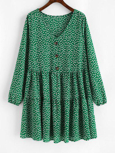 Tiny Floral Mock Buttons Long Sleeve Dress - Deep Green L