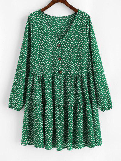 Tiny Floral Mock Buttons Long Sleeve Dress - Deep Green Xl