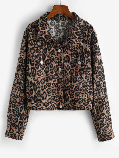 Leopard Button Up Corduroy Shacket - Coffee M