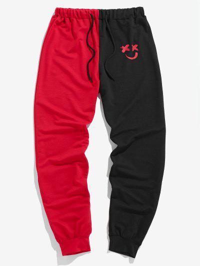 ZAFUL Pantalon Visage Souriant Bicolore à Cordon - Multi-b M