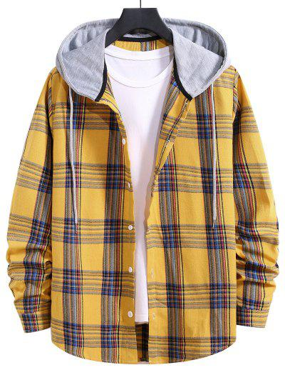 Hooded Plaid Print Curved Hem Drawstring Shirt - Bright Yellow Xl