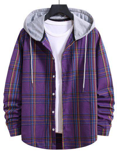 Hooded Plaid Print Curved Hem Drawstring Shirt - Purple Iris M