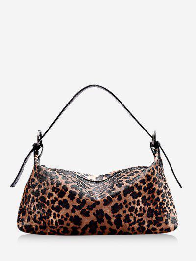 Animal Print PU Leather Shoulder Bag - Brown