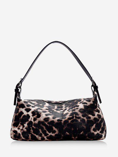 Animal Print PU Leather Shoulder Bag - Khaki