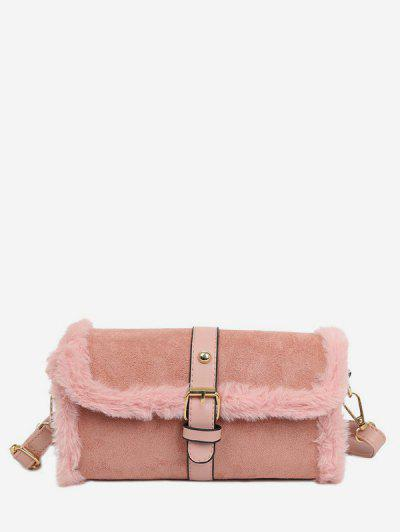 Faux Fur Trim Flap Crossbody Bag - Pig Pink