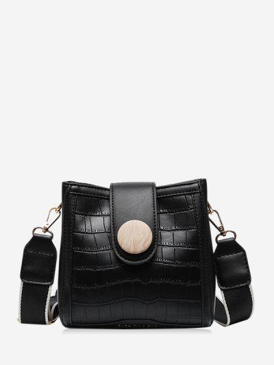Animal Pattern Pu Leather Square Crossbody Bag - Black