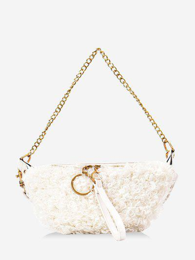 Faux Shearling Double Strap Fanny Pack - White