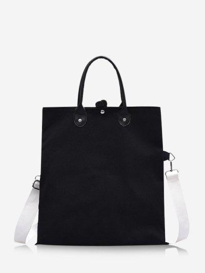 Brief Canvas Fold Over Bag - Black