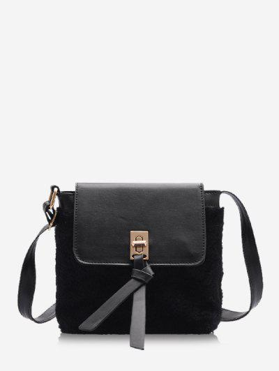 Faux Fur Patchwork Crossbody Bag - Black