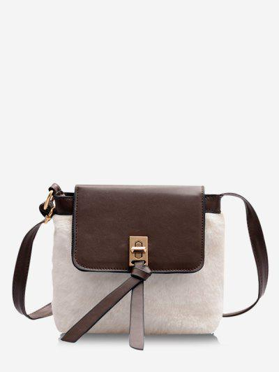 Faux Fur Patchwork Crossbody Bag - Milk White