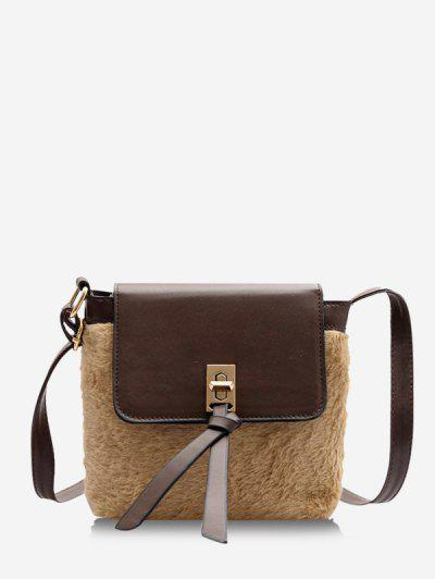 Faux Fur Patchwork Crossbody Bag - Brown Bear