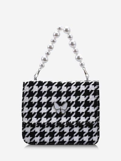 Butterfly Houndstooth Pattern Faux Pearl Bag - Black