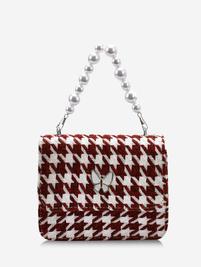 Butterfly Houndstooth Pattern Faux Pearl Bag - Deep Red