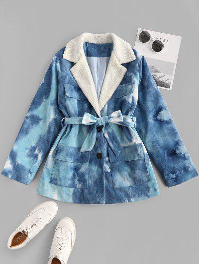 Tie Dye Faux Shearling Collar Belted Corduroy Jacket - Blue S