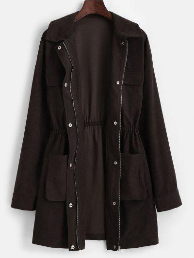ZAFUL Snap Button Pockets Zip Up Long Coat - Deep Coffee M
