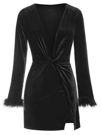 ZAFUL Plunge Neck Fluffy Cuff Velour Dress - Black S