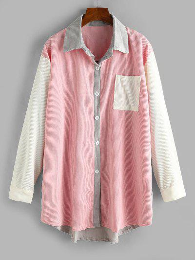 Long Colorblock Front Pocket Corduroy Shacket - Light Pink Xl