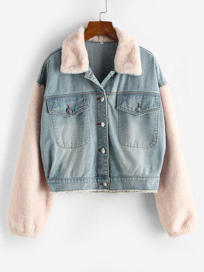 Frayed Faux Fur Panel Combo Denim Jacket - Blue Gray L