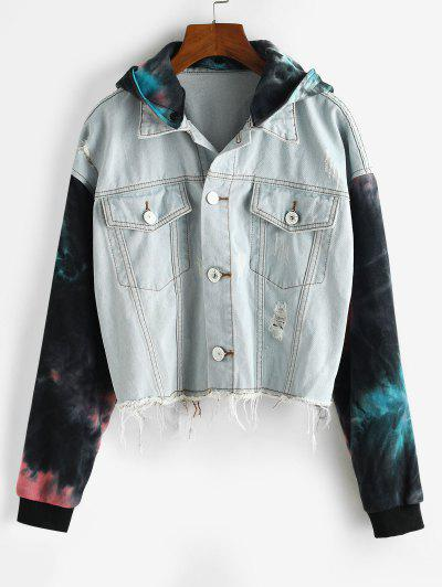 Ripped Frayed Tie Dye Denim Combo Jacket - Denim Blue L