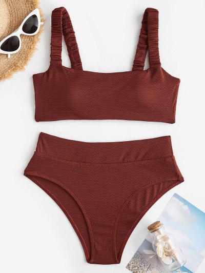 ZAFUL Textured Ruched Strap Wide Waistband Bikini Swimwear - Deep Coffee L