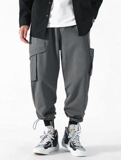 Drawstring Ankle Patch Design Cargo Pants - Gray M