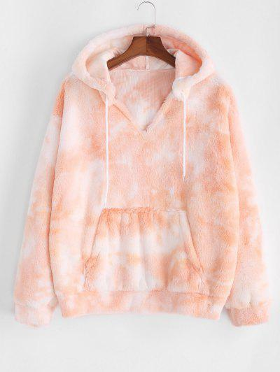 Plus Size Tie Dye Fluffy Faux Fur Front Pocket Hoodie - Light Orange 5x