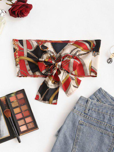 Chain Scarf Print Knotted Bandeau Top - Multi S