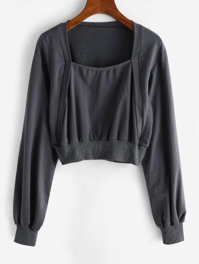 Ribbed Trim Square Neck Cropped Sweatshirt - Dark Gray S