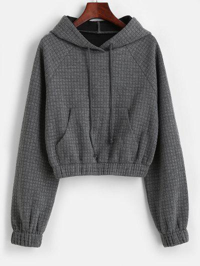 ZAFUL Raglan Sleeve Drawstring Front Pocket Hoodie - Dark Gray S