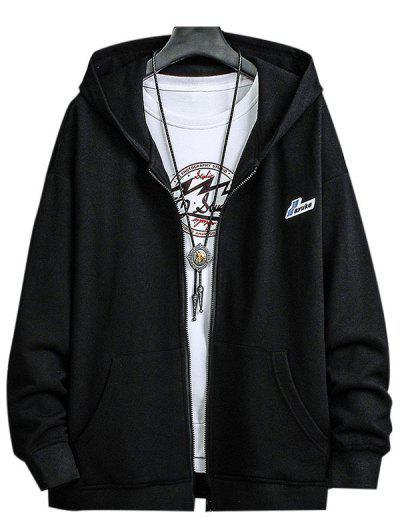 Letter Patched Pocket Zip Up Hooded Jacket - Black Xl