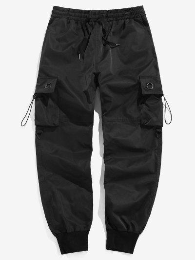 ZAFUL Multi Pockets Drawstring Jogger Cargo Pants - Black 2xl