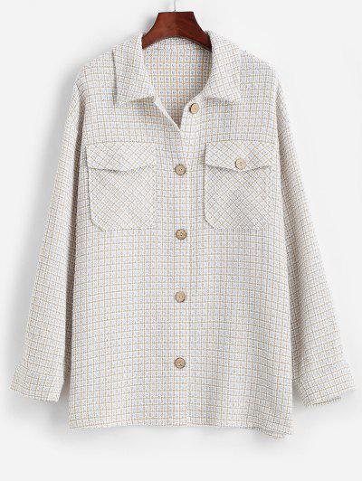 ZAFUL Flap Pockets Plaid Tweed Shacket - Baby Blue S
