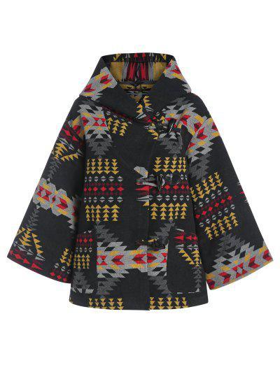 ZAFUL Hooded Tribal Jacquard Wool Blend Coat - Black L