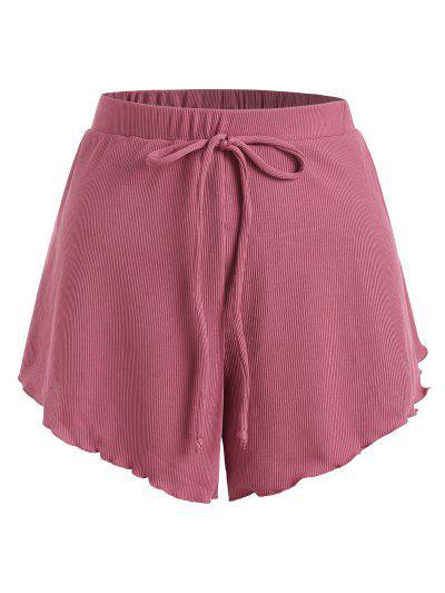 ZAFUL Plus Size Ribbed Bowknot Lettuce Trim Tulip Swim Shorts - Light Pink Xl