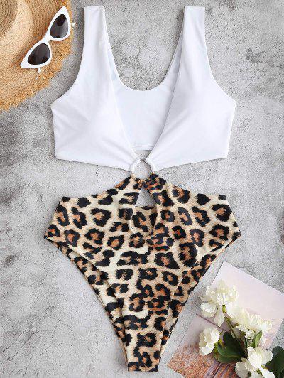 ZAFUL Leopard Ring Badebekleidung Mit Tiefem Ausschnitt - Weiß S