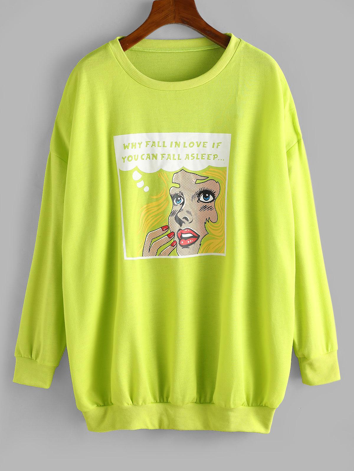 Sweat-shirt Graphique en Avant Surdimensionné à Col Rond - ZAFUL - Modalova