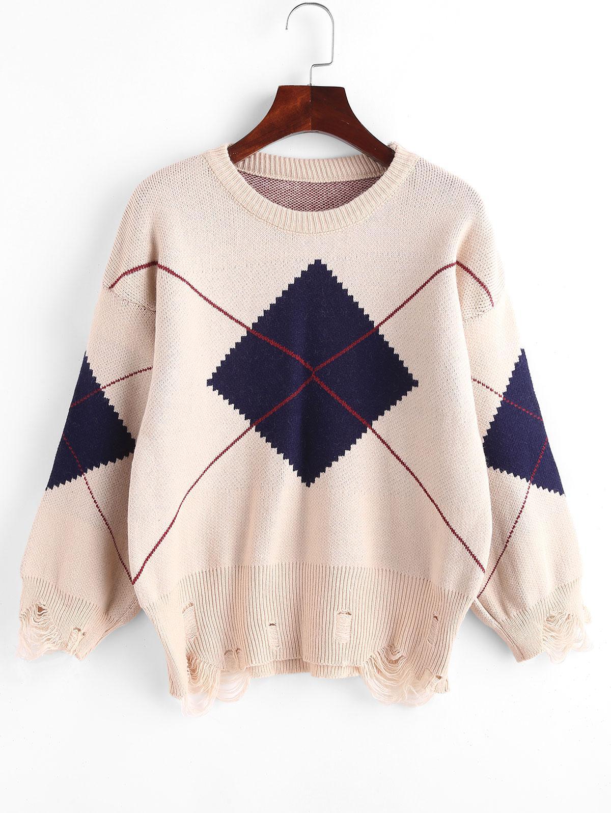 Argyle Distressed Drop Shoulder Sweater