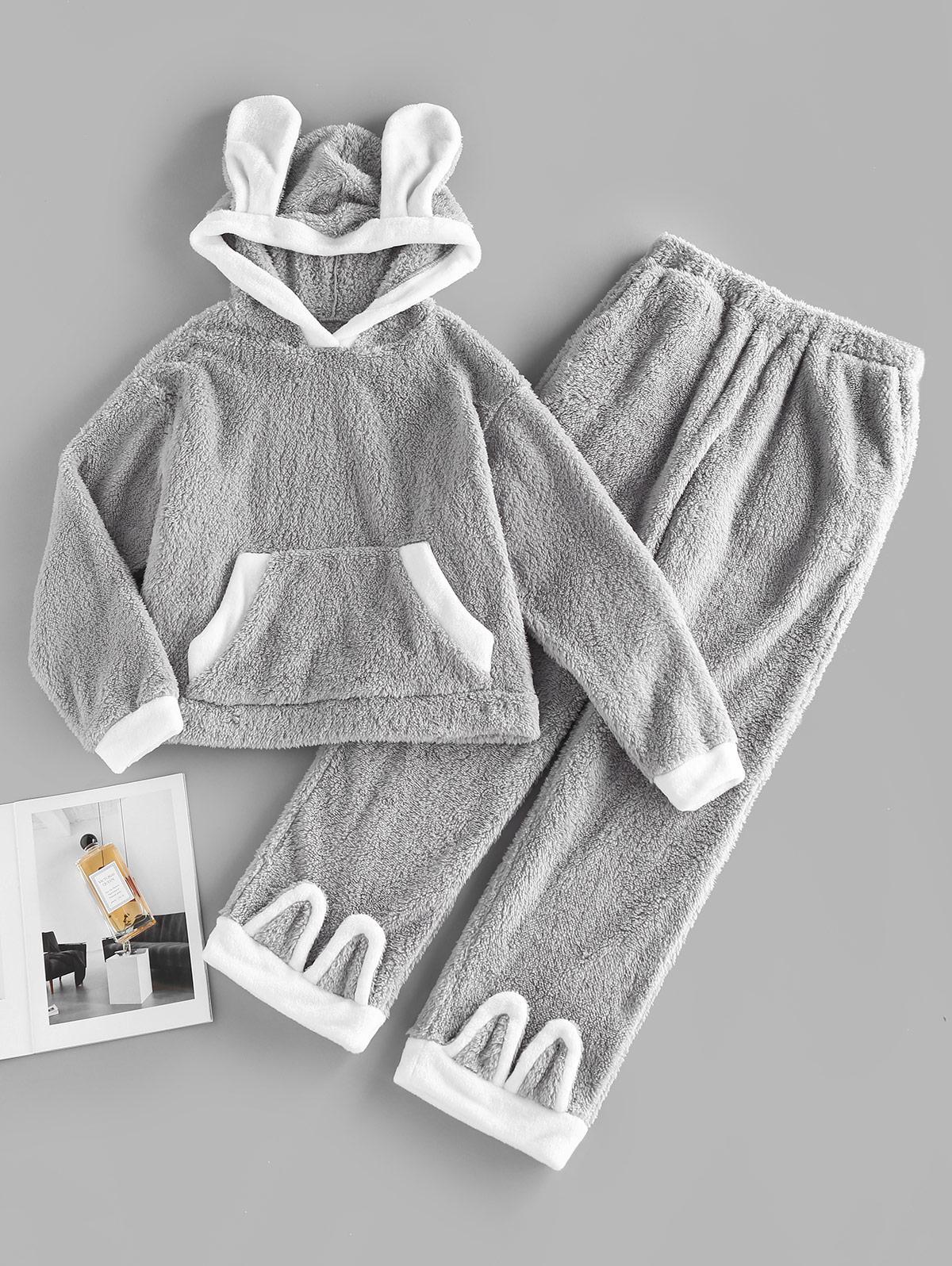ZAFUL Kangaroo Pocket Hooded Plush Colorblock Bunny Pajama Pants Set