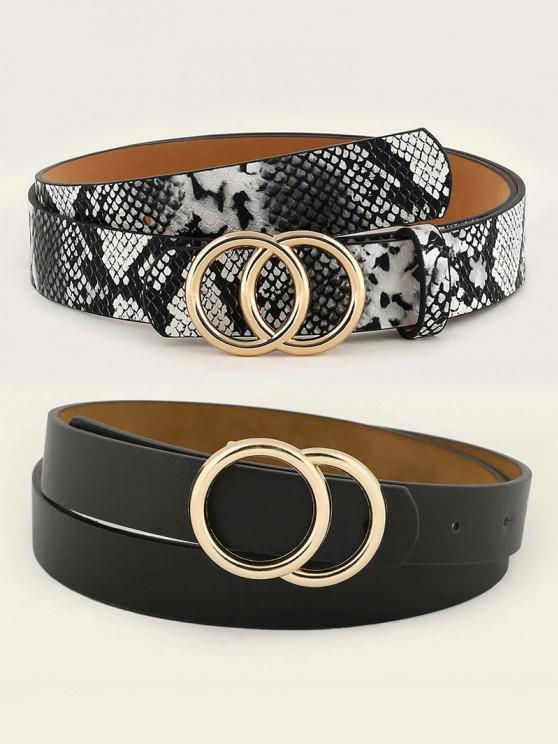 affordable 2Pcs Circle Buckle Snakeskin Pattern Belt Set - GOLDEN