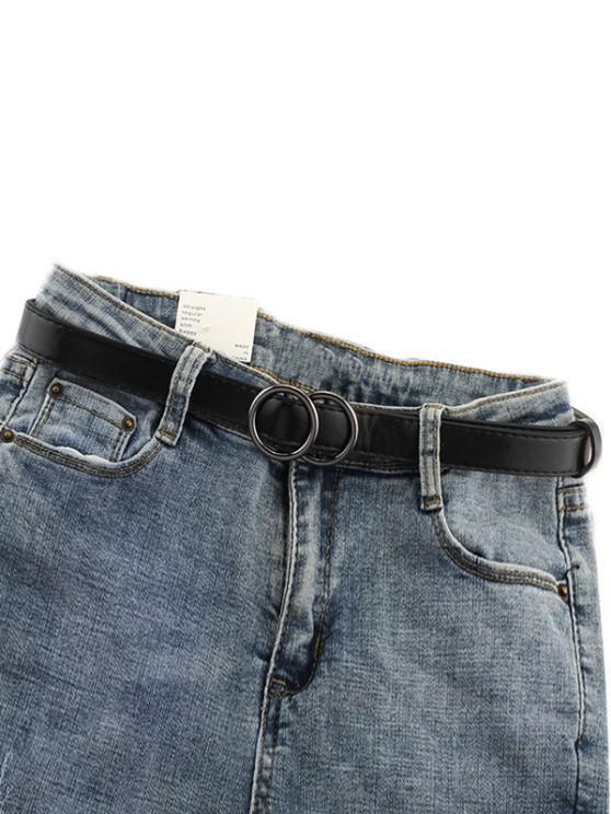 buy Double Circle Buckle PU Leather Waist Belt - BLACK