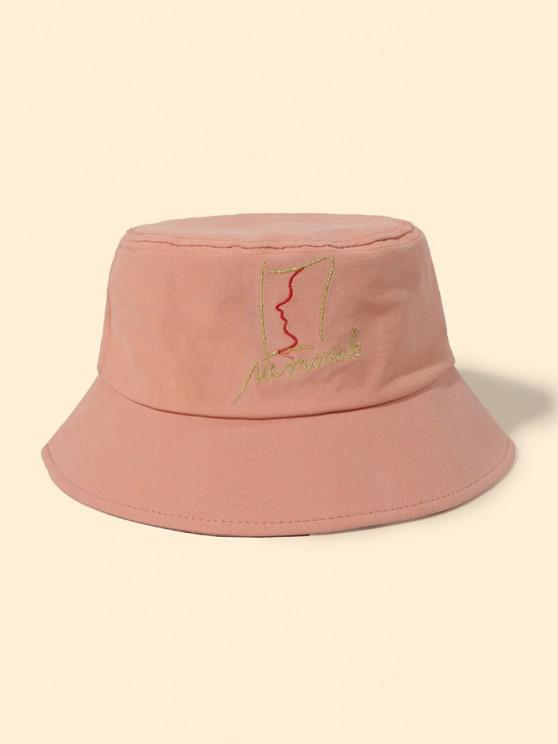unique Abstract Face Pattern Bucket Hat - TIGER ORANGE