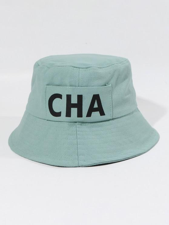affordable Letters Printed Canvas Bucket Hat - BABY BLUE