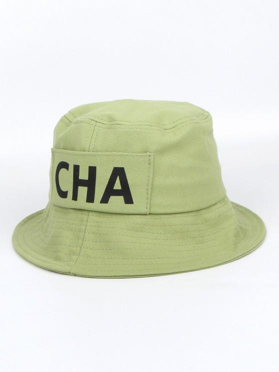 buy Letters Printed Canvas Bucket Hat - AVOCADO GREEN