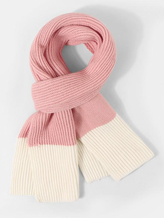 women's Two Tone Knitted Long Scarf - FLAMINGO PINK